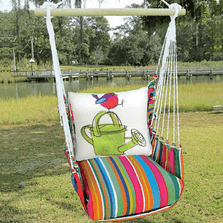 "Bird and Watering Can Hammock Chair Swing ""Le Jardin"" | Magnolia Casual | LJRR612-SP"