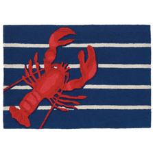 Lobster Stripe Navy Blue Area Rug | Trans Ocean | FTP34159533