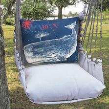 "Whale Nautical Hammock Chair Swing ""Latte"" | Magnolia Casual | LTTC611-SP-3"