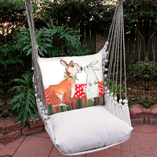 "Deer & Bunny Hammock Chair Swing ""Latte"" 