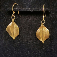 Antique Gold Solid Brass Sculptural Leaf Earrings | Elaine Coyne Jewelry | ECGNASG77e