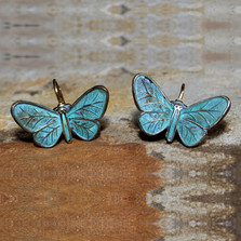 Butterfly Verdigris Leverback Wire Earrings | Elaine Coyne Jewelry | ecgZGP832e