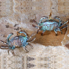 Crab Verdigris Brass Leverback Wire Earrings | Elaine Coyne Jewelry | ecgOCP76e
