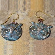 Owl Patina Wire Earrings | Elaine Coyne Jewelry | ECGOWO147e