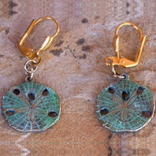 Sand Dollar Verdigris Leverback Wire Earrings | Elaine Coyne Jewelry | ecgOCP508e