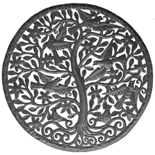Tree of Life Round Recycled Steel Oil Drum Wall Sculpture