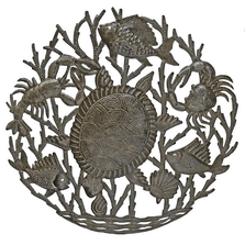 Sea Turtle Recycled Steel Drum Wall Art | Le Primitif