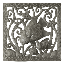 Fish Square Recycled Steel Drum Wall Art | Le Primitif