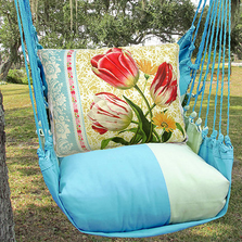 "Red Tulips Hammock Chair Swing ""Meadow Mist"" | Magnolia Casual | MMSN701-SP-2"