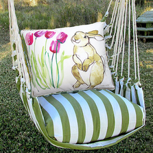 "Bunny with Tulips Hammock Chair Swing ""Summer Palm"" 
