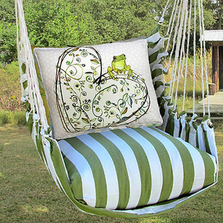 "Frog with Heart Hammock Chair Swing ""Summer Palm"" 