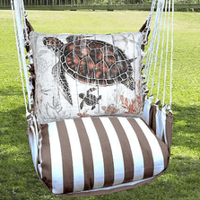 "Sea Turtle and Baby Hammock Chair Swing ""Striped Chocolate"" 