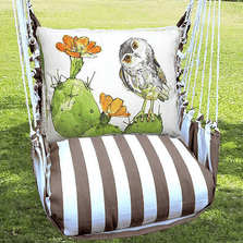 """Owl and Cactus Hammock Chair Swing """"Striped Chocolate"""" 