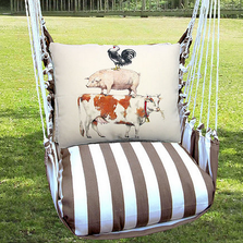 "Cow Hammock Chair Swing ""Striped Chocolate"" 