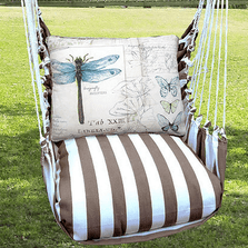 "Dragonfly Hammock Chair Swing ""Striped Chocolate"" 