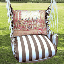 "Birds on Ironwork Hammock Chair Swing ""Striped Chocolate"" 