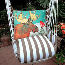 """Moose Hammock Chair Swing """"Striped Chocolate""""   Magnolia Casual   SCRR512-SP-2"""