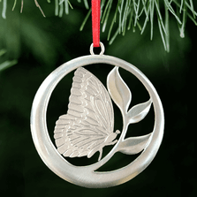 Butterfly Polished Pewter Ornament | Lovell Designs | LOVOR217