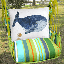 "Whale Hammock Chair Swing ""Citrus Stripe"" 