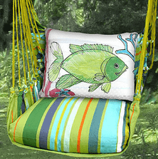 "Fish Hammock Chair Swing ""Citrus Stripe"" 