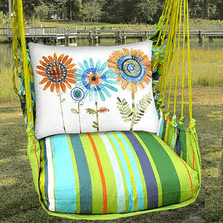 "Daisies Hammock Chair Swing ""Citrus Stripe"" 