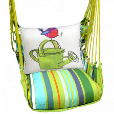 "Bird with Watering Can Hammock Chair Swing ""Citrus Stripe"" 