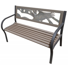 Eagle Flag 2-Tone Tube Steel Outdoor Bench | Painted Sky | TSB2-EF
