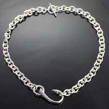 Hook Sterling Silver Pendant on Heavy Link Chain Necklace | Anisa Stewart Jewelry | p1017-hl