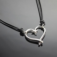 Fish Hook Sterling Silver Heart Pendant Necklace | Anisa Stewart Jewelry | ASJp1047s