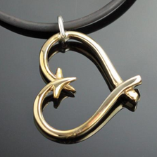 Bronze Hook Heart Pendant Necklace | Anisa Stewart Jewelry | ASJbrp1047