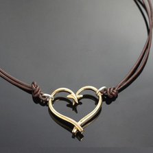 Bronze Fish Hook Heart Pendant Necklace | Anisa Stewart Jewelry | ASJbrp1047s