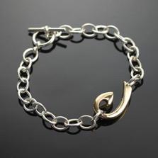 Bronze Hook Sterling Silver Link Bracelet | Anisa Stewart Jewelry | ASJbrbp1039L