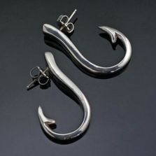 Sterling Silver Large Fish Hook Earrings | Anisa Stewart Jewelry | ASJe1018