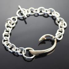 Bronze Hook Sterling Silver Heavy Link Bracelet | Anisa Stewart Jewelry | ASJbrb1017HL9