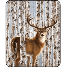 Deer Faux-Mink Blanket | Birch Whitetail | DB5434-2