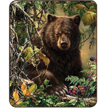 Bear Faux-Mink Blanket | Black Bear Woods Blanket | DB5433-2