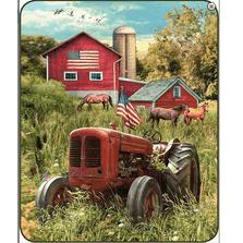 Patriotic Tractor Faux-Mink Blanket | DB5284-2
