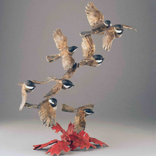 "Chickadee Bronze Sculpture ""In A Flurry"" 