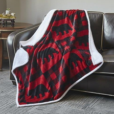 Buffalo Bear Flannel Sherpa Throw Blanket | DTR680