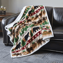 Bear and Moose Flannel Sherpa Throw Blanket | Christmas Wilderness | DTR684 -2