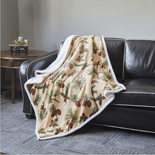 Pine Cone Flannel Sherpa Throw Blanket | Forest Pines | DTR683