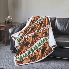Bear Flannel Sherpa Throw Blanket | Winter Bear | DTR684