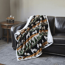 Wolf and Hawk Flannel Sherpa Throw Blanket | DTR679
