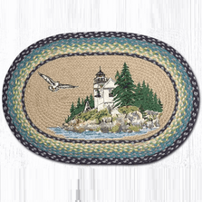 Lighthouse Oval Patch Braided Rug   Bass Harbor   Capitol Earth Rugs   OP-311BH