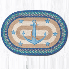 Anchor and Stars Oval Patch Braided Rug | Capitol Earth Rugs | OP-433AS