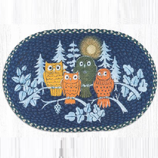 Midnight Owl Oval Patch Braided Rug | Capitol Earth Rugs | OP-582MO