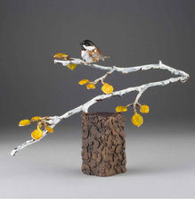 Chickadee Bronze Sculpture | Mountain Gold | Mark Hopkins | 73023