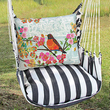 "Bird on Branch Pillow Hammock Chair Swing ""True Black"" 