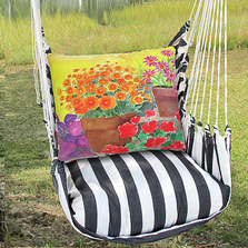 "Flower Pots Pillow Hammock Chair Swing ""True Black"" 