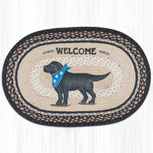 Black Lab Dog Oval Patch Braided Rug | Capitol Earth Rugs | OP-313BL